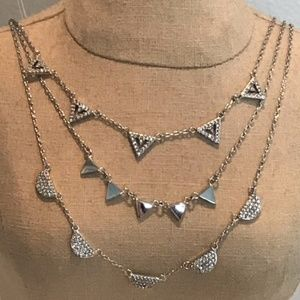 SILVER New Stella & Dot Pave Chevron Necklace